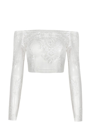 Honey Couture BRITTANY White Sheer Off Shoulder Long Sleeve Embroided Crop Top