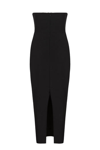 Honey Couture ANYA Black Strapless Tie Up Detail Midi Bodycon Dress