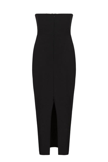 Honey Couture ANYA Black Strapless Tie Up Detail Midi Bodycon DressHoney CoutureOne Honey Boutique AfterPay OxiPay ZipPay