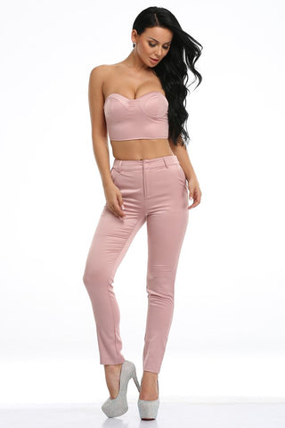 Honey Couture AZARIA Pink Crop Top & Pant Set Honey Couture One Honey Boutique AfterPay ZipPay OxiPay Laybuy Sezzle Free Shipping