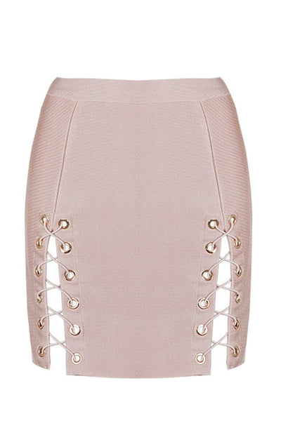 Honey Couture KYLA Pink Lace Up Split Bandage Mini Skirt Australian Online Store One Honey Boutique AfterPay ZipPay