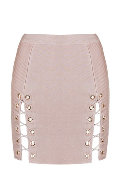 Honey Couture KYLA Pink Lace Up Split Bandage Mini Skirt