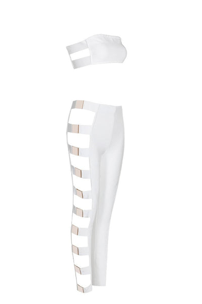 Honey Couture EVY White Metal Side Crop Top & Pant Bandage Set