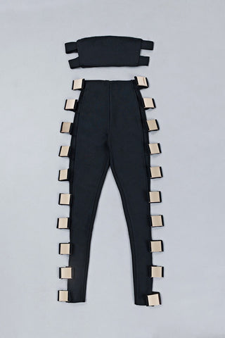 Honey Couture EVY Black Metal Side Crop Top & Pant Bandage Set