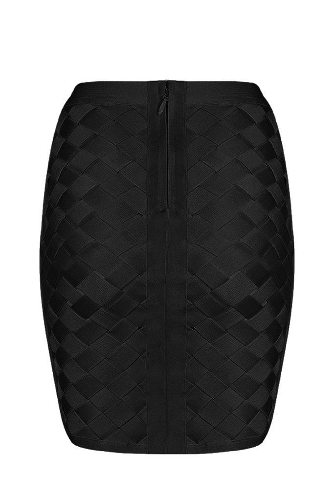 Honey Couture MACY Black Geometric Criss Cross Bandage Skirt Australian Online Store One Honey Boutique AfterPay ZipPay