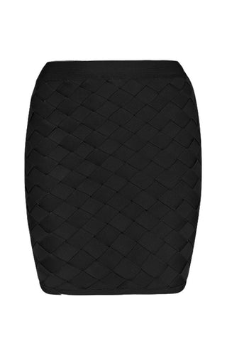 Honey Couture MACY Black Geometric Criss Cross Bandage Skirt