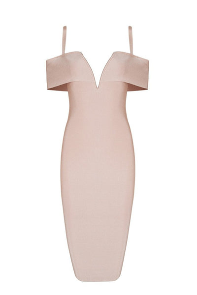Honey Couture SETH Apricot Pink Thin Strap Midi Bandage Dress