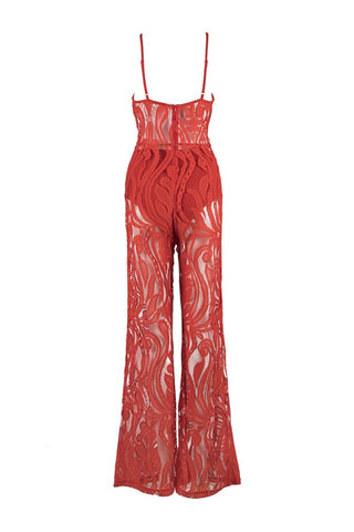 Honey Couture ORLA Red Lace V Neck Jumpsuit Honey Couture One Honey Boutique AfterPay ZipPay OxiPay Laybuy Sezzle Free Shipping