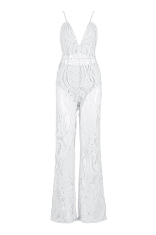 Honey Couture ORLA White Lace V Neck Jumpsuit Honey Couture One Honey Boutique AfterPay ZipPay OxiPay Sezzle Free Shipping