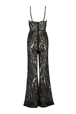 Honey Couture ORLA Black Lace V Neck Jumpsuit Honey Couture One Honey Boutique AfterPay ZipPay OxiPay Laybuy Sezzle Free Shipping