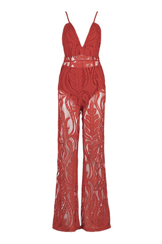 Honey Couture ORLA Red Lace V Neck Jumpsuit Honey Couture One Honey Boutique AfterPay ZipPay OxiPay Sezzle Free Shipping