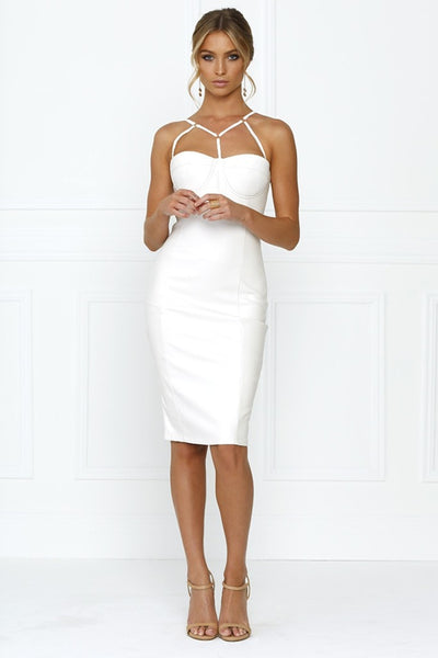 Honey Couture White Vegan Leather Bodycon Dress