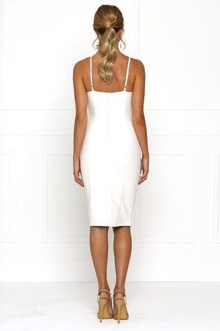Honey Couture AMINA White Vegan Leather Bodycon Dress