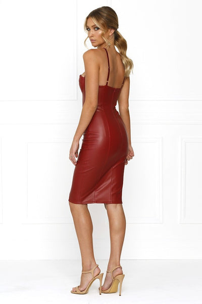 Honey Couture Burgundy Vegan Leather Bodycon Dress Australian Online Store One Honey Boutique AfterPay ZipPay
