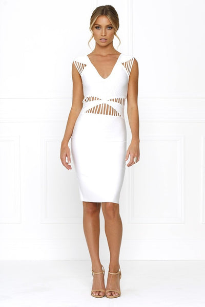 Honey Couture TATUM Designer White Cut Out Bandage Dress