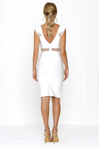 Honey Couture TATUM Designer White Cut Out Bandage Dress Honey Couture One Honey Boutique AfterPay ZipPay OxiPay Sezzle Free Shipping