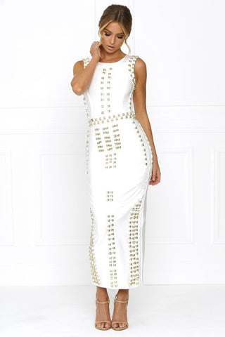Honey Couture KIM White Gold Detail Maxi Bandage Dress Honey Couture One Honey Boutique AfterPay ZipPay OxiPay Sezzle Free Shipping