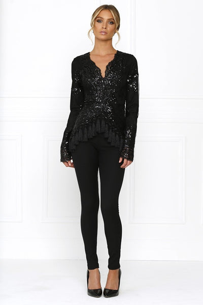 Honey Couture SELENA Black Sequin Tassle Jumpsuit