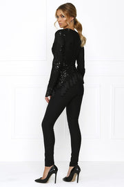Honey Couture SELENA Black Sequin Tassle Jumpsuit Honey Couture One Honey Boutique AfterPay ZipPay OxiPay Laybuy Sezzle Free Shipping
