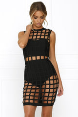 Honey Couture EMILY Black Cage Bandage Dress
