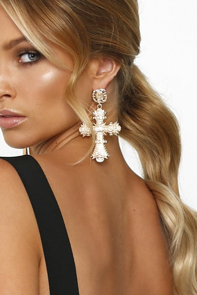 Gold Oversized Cross & Diamante Statement Earrings