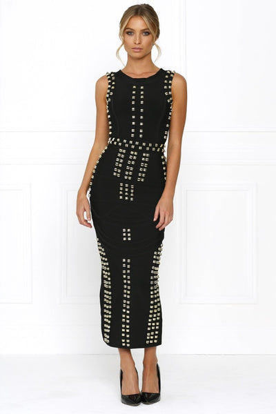 Honey Couture KIM Black Gold Detail Maxi Bandage Dress