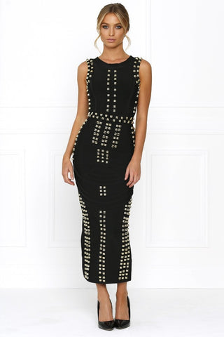 039804b4027 Honey Couture KIM Black Gold Detail Maxi Bandage Dress Honey Couture One  Honey Boutique AfterPay ZipPay ...