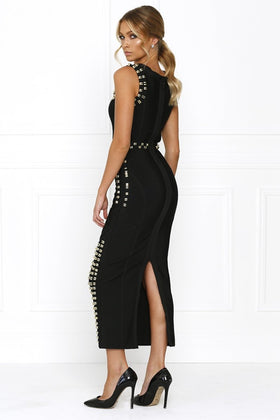 Honey Couture KIM Black Gold Detail Maxi Bandage DressHoney CoutureOne Honey Boutique AfterPay OxiPay ZipPay