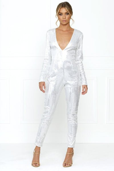 Honey Couture DANIELLA Silver Sequin Jumpsuit