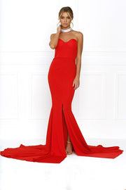 Honey Couture HANNAH Red Strapless Princess w Slit Evening Gown Dress Honey Couture One Honey Boutique AfterPay ZipPay OxiPay Laybuy Sezzle Free Shipping
