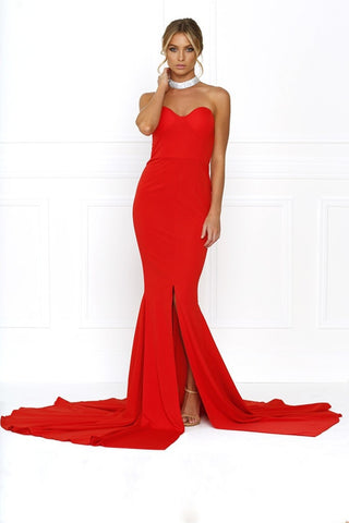 Honey Couture HANNAH Red Strapless Princess w Slit Evening Gown Dress Honey Couture One Honey Boutique AfterPay ZipPay OxiPay Sezzle Free Shipping