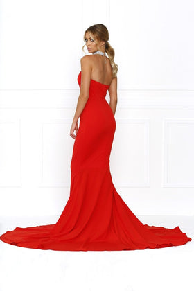 Honey Couture HANNAH Red Strapless Princess w Slit Evening Gown DressHoney CoutureOne Honey Boutique AfterPay OxiPay ZipPay