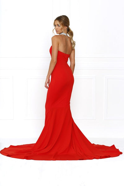 Honey Couture HANNAH Red Strapless Princess w Slit Evening Gown Dress Australian Online Store One Honey Boutique AfterPay ZipPay