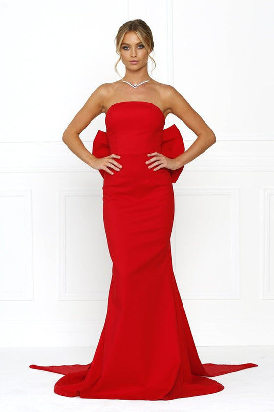 Honey Couture BONNIE Red Strapless Bow Evening Gown Dress Honey Couture One Honey Boutique AfterPay ZipPay OxiPay Laybuy Sezzle Free Shipping
