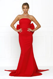Honey Couture BONNIE Red Strapless Bow Evening Gown Dress Honey Couture$ AfterPay Humm ZipPay LayBuy Sezzle