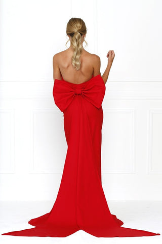 Honey Couture BONNIE Red Strapless Bow Evening Gown Dress Honey Couture One Honey Boutique AfterPay ZipPay OxiPay Sezzle Free Shipping