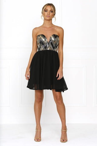 Passion Fusion Black Sherri Sequin Formal Dress Passion Fusion One Honey Boutique AfterPay ZipPay OxiPay Sezzle Free Shipping