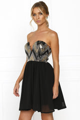 Passion Fusion Black Sherri Sequin Formal Dress