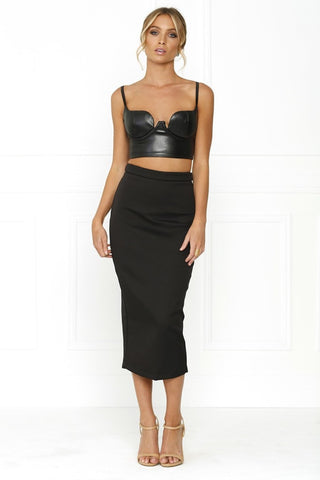 Honey Couture REBECCA Black Pencil Silver Zip Skirt