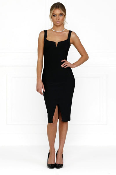 Honey Couture SONIA Black Off Shoulder Bandage Midi Dress