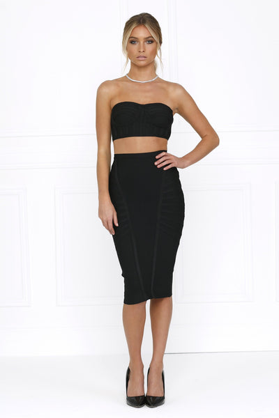 Honey Couture LYDIA Black Bandeau Crop Top & Bandage Pencil Skirt Set