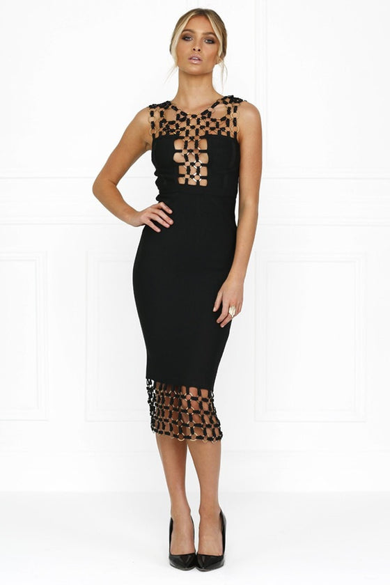 Honey Couture HAYLEE Black Chain Bandage DressHoney CoutureOne Honey Boutique AfterPay OxiPay ZipPay