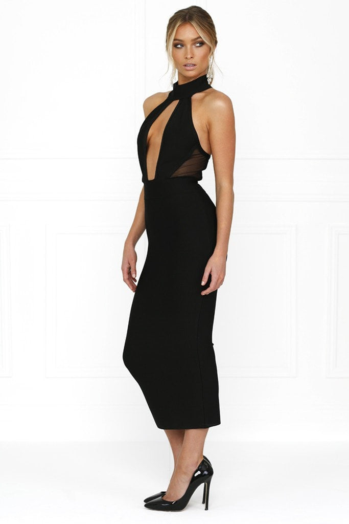 Honey Couture KIMORA Black Keyhole Halter Bandage Dress