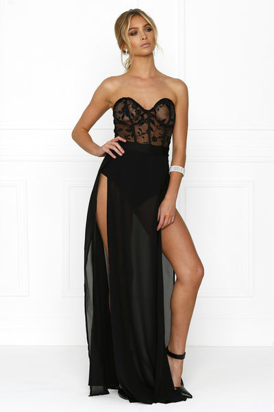 Honey Couture CHANTEL Black Sheer Mesh Detail Bustier Strapless Formal Gown Dress