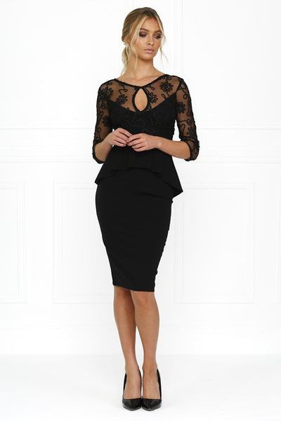 Honey Couture DAISY Black Lace Peplum Bodycon Dress