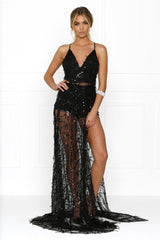 Honey Couture LANA Black Sheer Sequin Tassel w Split Evening Gown Dress