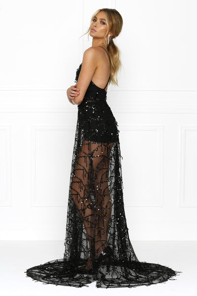 Honey Couture LANA Black Sheer Sequin Tassel w Split Evening Gown Dress Australian Online Store One Honey Boutique AfterPay ZipPay
