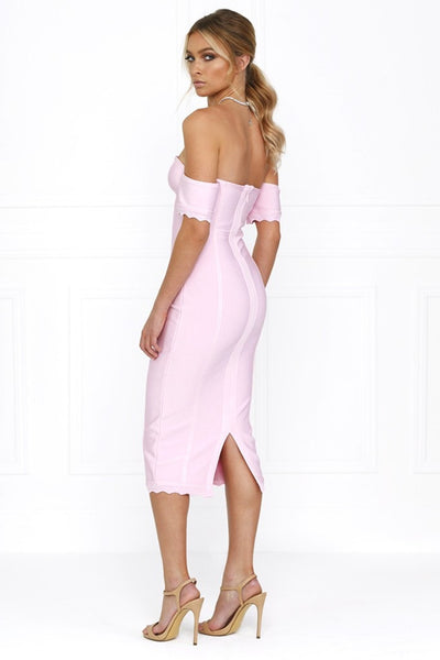 Honey Couture AVA Pink Strapless Frilly Off Shoulder Bandage Dress