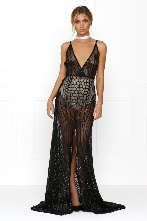 Honey Couture SIENA Black Sheer Sequin w Split Evening Gown Dress Honey Couture One Honey Boutique AfterPay ZipPay OxiPay Laybuy Sezzle Free Shipping