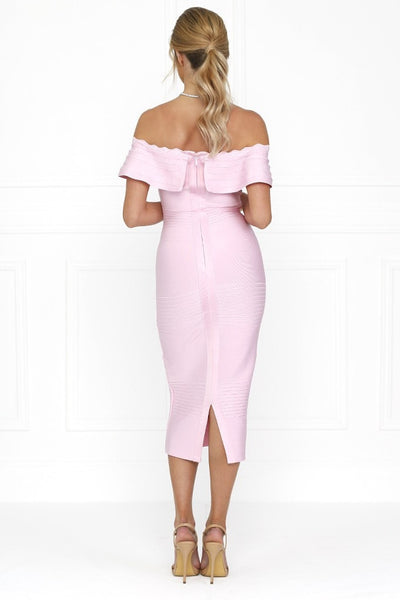 Honey Couture STEPHANIE Pink Strapless Frilly Tube Bandage Dress